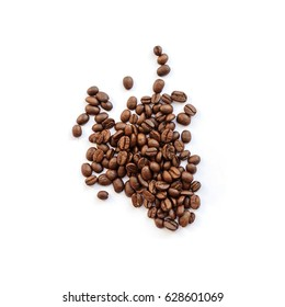 Roasted coffee beans pile from top on white background