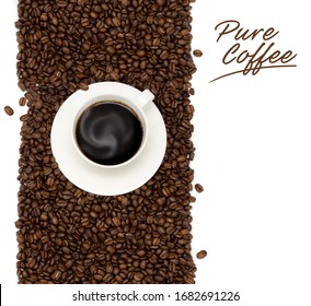 Roasted coffee beans placed on white background from the top view has space for your messages