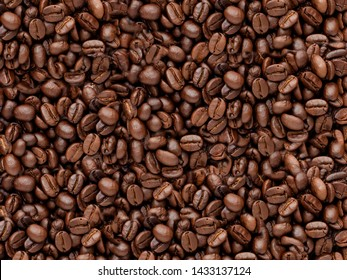 Roasted coffee beans texture  background.