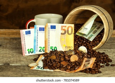 Roasted coffee beans and valid euro banknotes. Coffee trading. Sale of commodities