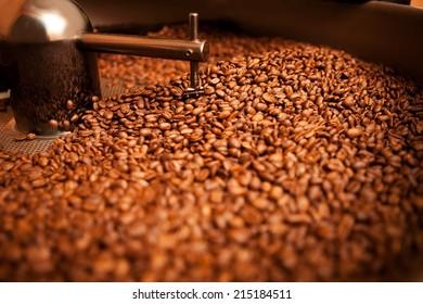 roasted coffee in roaster
