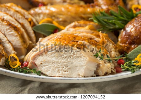 Roasted Cut Up Turkey Platter For Thanksgiving With All The Sides