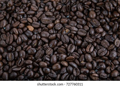 Roasted dark coffee beans