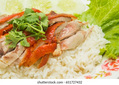 Roasted duck with rice and vegetable