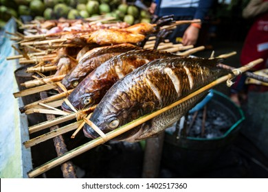 Roasted Fish Skewers - Laos Style. Grilled fish is on the counter of a street shop. Street food in Asia. Laos.