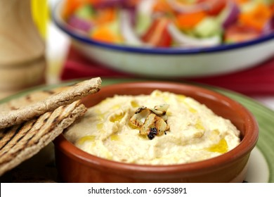 Roasted Garlic Houmous and Pitta Bread houmous, hummus