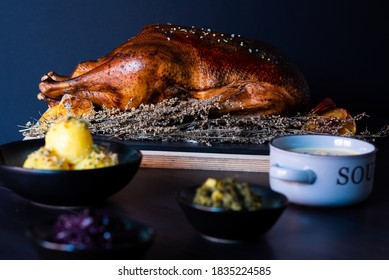 roasted goose with blurred background , garnish and decoration