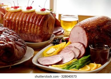 Roasted Ham for Festive dinner, Christmas dinner, Holiday table, Thanksgiving day celebration
