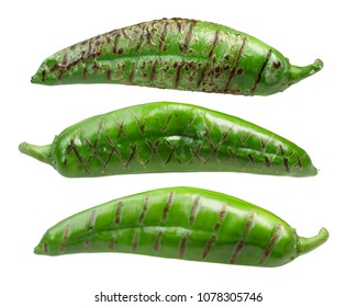 Roasted Hatch Green chile peppers (Numex New Mexico pod type)
