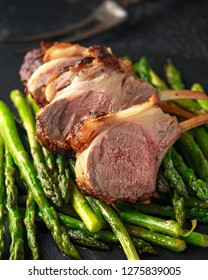 Roasted Lamb chops on sauteed green asparagus