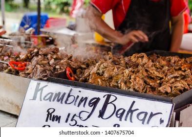 Roasted lamb selling at the Ramadan bazaar, Malaysia.