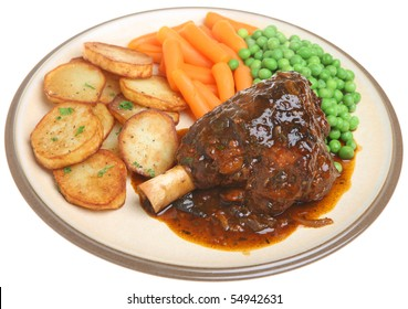 Roasted lamb shank with vegetables