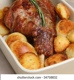 Roasted leg of lamb with roast potatoes