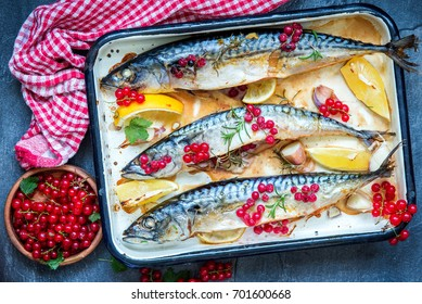Roasted mackerel fish with red currants