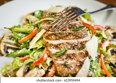 Roasted Mushroom Salad, Roasted Mushroom Salad, Fresh garden mix vegetables, coated with herb lemon dressing, topped with grilled chicken and roasted mushroom