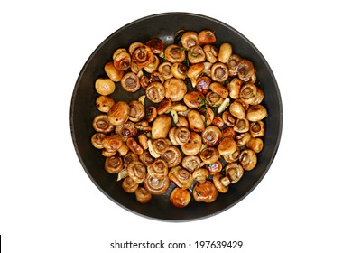 Roasted mushrooms with thyme and garlic in a pan isolated on white