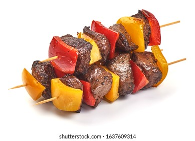 Roasted mutton skewers, BBQ kebab, isolated on white background.