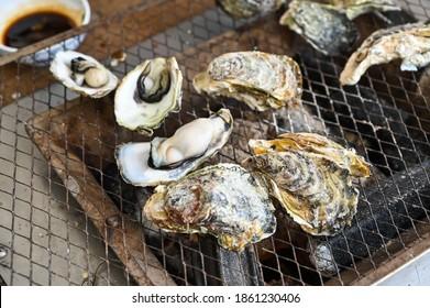 Roasted oysters in Penghu, Taiwan.