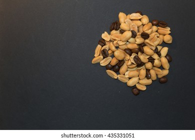 Roasted peanuts and coffee beans