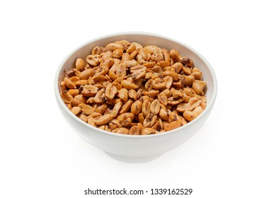 Roasted peanuts, nuts in a plate on a white background