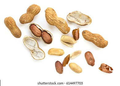 Roasted peanuts in shell, top view, isolated.