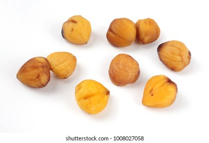 roasted and peeled chestnuts isolated over white background