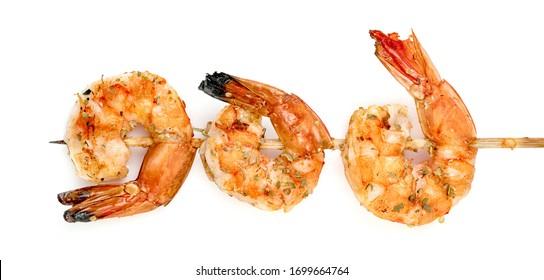 roasted peeled prawn with skewer isolated on white background ,grilled shrimp