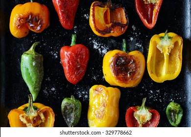 roasted pepper with sea salt, food top view