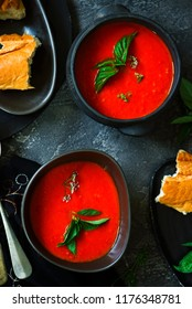 Roasted pepper and tomato soup vegan..style rustic.selective focus
