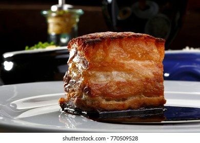 Roasted pork belly with red wine
