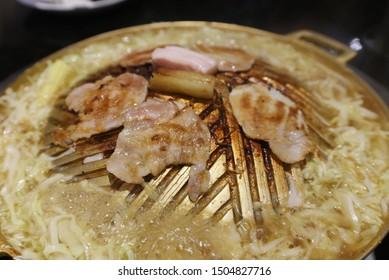 Roasted pork on brass pan, Korea BBQ