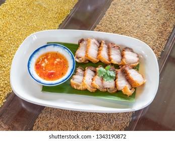 roasted pork on table.