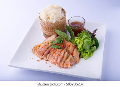 Roasted Pork with sticky rice on white dish , white background