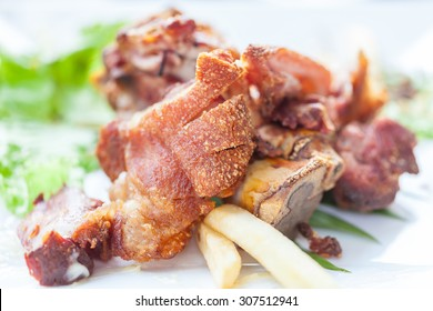 roasted pork whit selective focus.