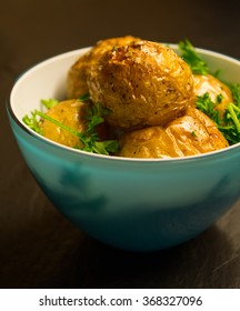 Roasted potatoes and parsley