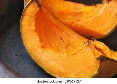 Roasted pumpkins in plate