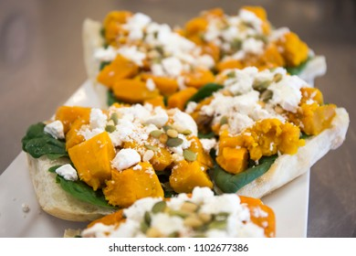 Roasted Pumpkin,Spinach, Feta Cheese and nuts Sandwich