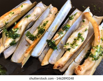 roasted razors with garlic and parsley