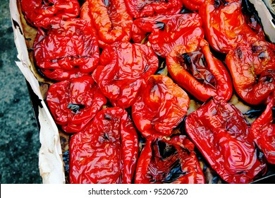 Roasted Red Bell pepper at market stall, Palermo, Italy