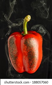 Roasted Red Pepper on black background