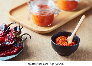 Roasted red pepper relish (Ajvar) in a small bowl