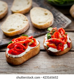 Roasted Red Sweet Pepper, Cucumber and Feta Bruschetta, copy space for your text, square