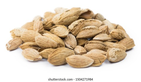Roasted and salted Almonds (in the shell) isolated on white background