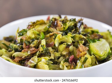 Roasted shaved brussels sprouts with crumbled bacon