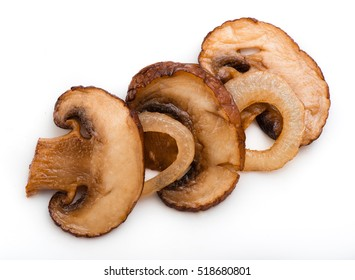 Roasted sliced champignons with onions isolated on white background. Mushrooms. Top view.