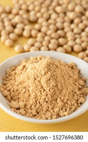 Roasted soybean flour and soybean close-up
