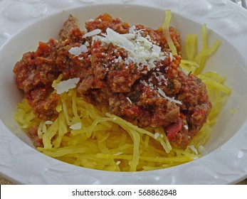 Roasted spaghetti squash with bolognese sauce