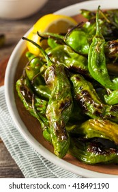 Roasted Spicy Shishito Peppers with Dipping Sauce