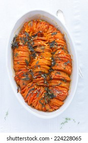 Roasted Sweet Potatoes with herbs