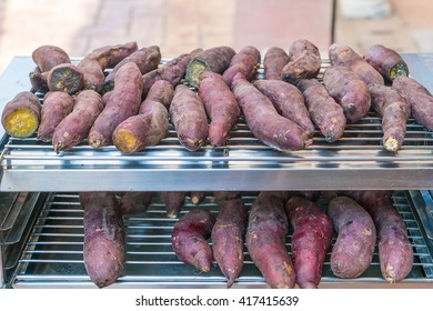roasted sweet potatoes at street food